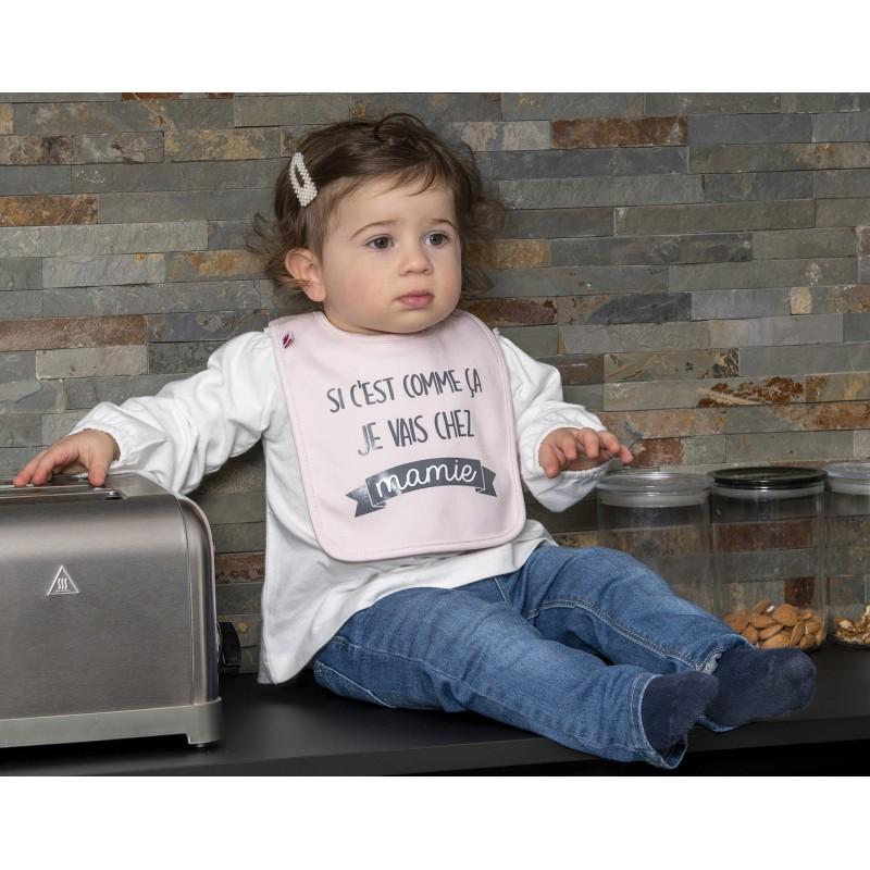 """Bavoir """"Si c'est comme ça je vais chez mamie"""" rose pastel - Bavoirs bébé par BB&Co"""