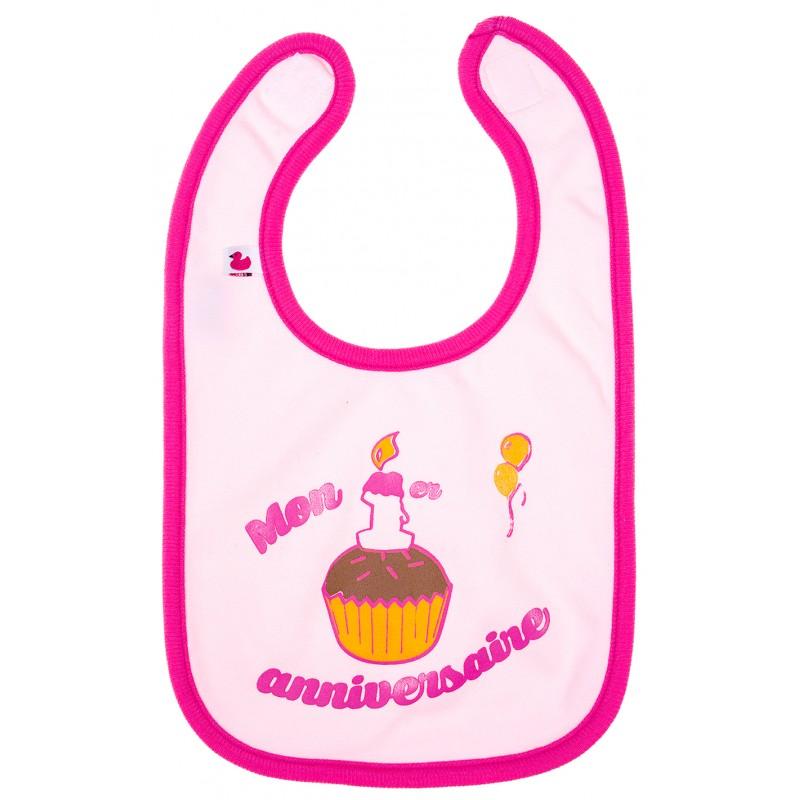 """Bavoir """"Mon 1er anniversaire"""" rose - Bavoirs bébé par BB&Co"""
