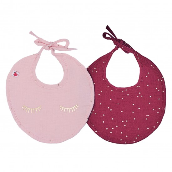 Lot de 2 bavoirs naissance en gaze de coton Girly Chic blush/prune pois or - Bavoirs bébé par BB&Co