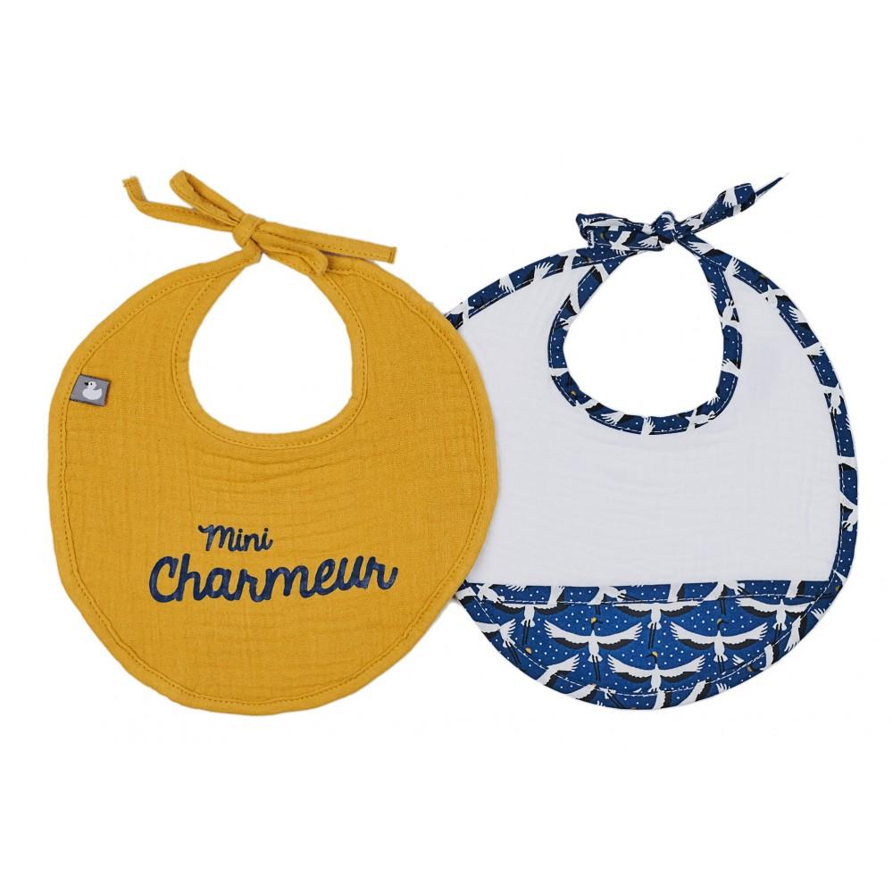 Lot de 2 bavoirs naissance en gaze de coton Origamignon blanc/indigo/ocre - Bavoirs bébé par BB&Co