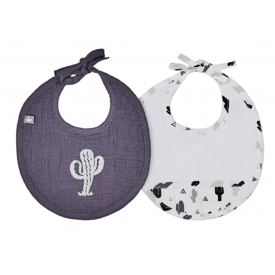Lot de 2 bavoirs naissance en gaze de coton P'tit Cactus blanc/gris/noir - Bavoirs bébé par BB&Co
