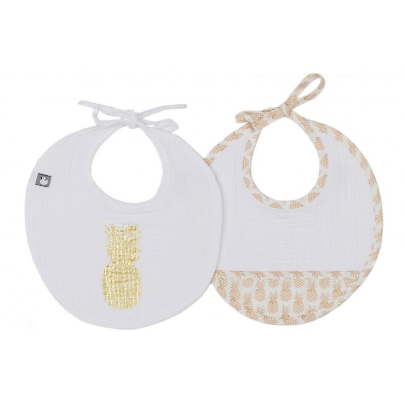 Lot de 2 bavoirs naissance en gaze de coton Anan'Adorable blanc/or - Bavoirs bébé par BB&Co