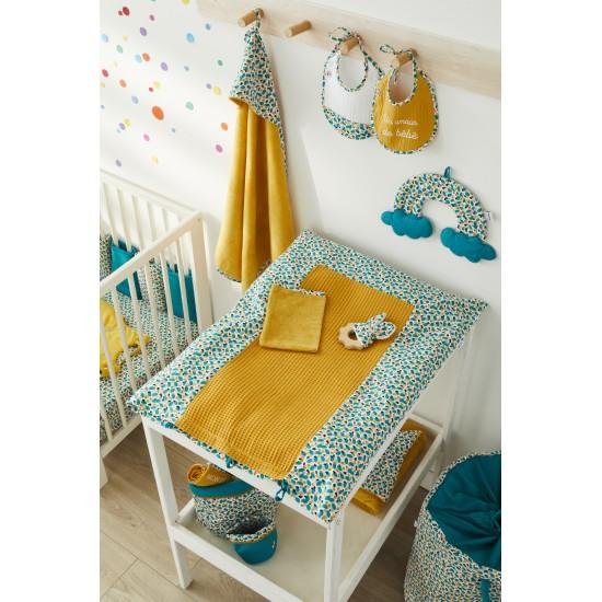 Lot de 2 bavoirs naissance en gaze de coton Baby Pop blanc/ocre - Bavoirs bébé par BB&Co