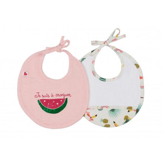Lot de 2 bavoirs naissance en gaze de coton Tropical Princess blanc/rose/exotique - Bavoirs bébé par BB&Co