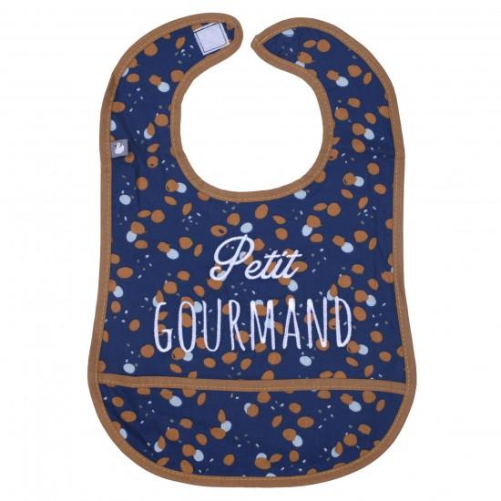 """Bavoir coton enduit """"Petit Gourmand"""" indigo/azur/camel - Bavoirs bébé par BB&Co"""