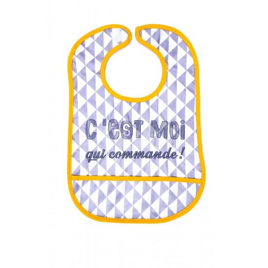 """Bavoir coton enduit """"C'est moi qui commande"""" gris/jaune - Bavoirs bébé par BB&Co"""