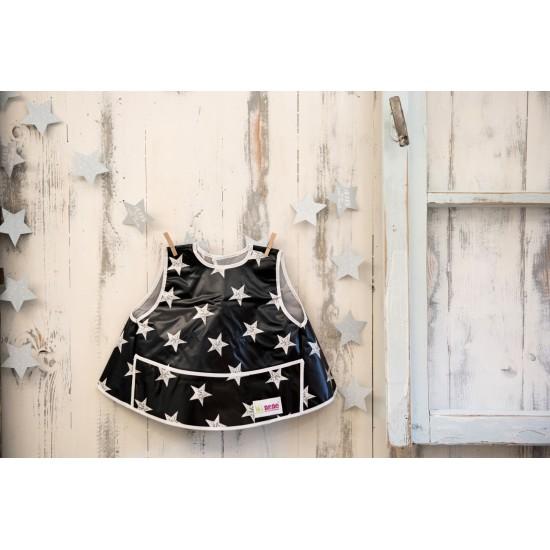 Bavoir intégral forme tablier - étoiles noir/blanc - Accueil par Minene