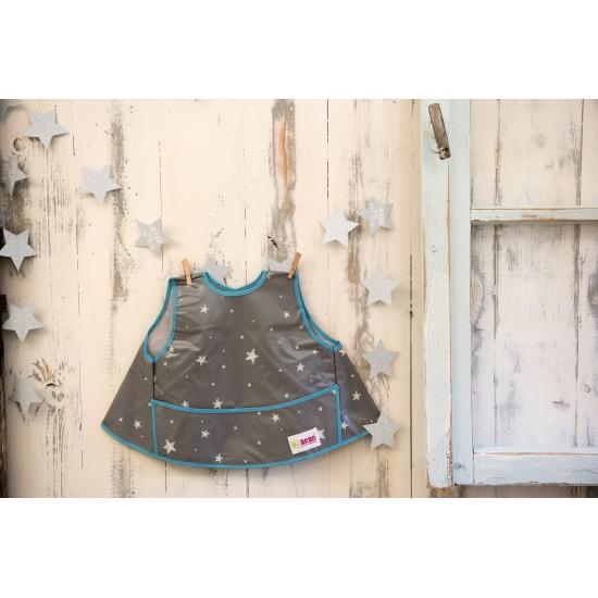 Bavoir intégral forme tablier - étoiles gris / bleu - Accueil par Minene