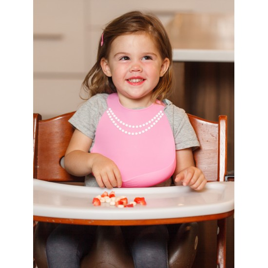 Bavoir en silicone : rose effet collier de perles chic - Bavoirs bébé par Make My Day