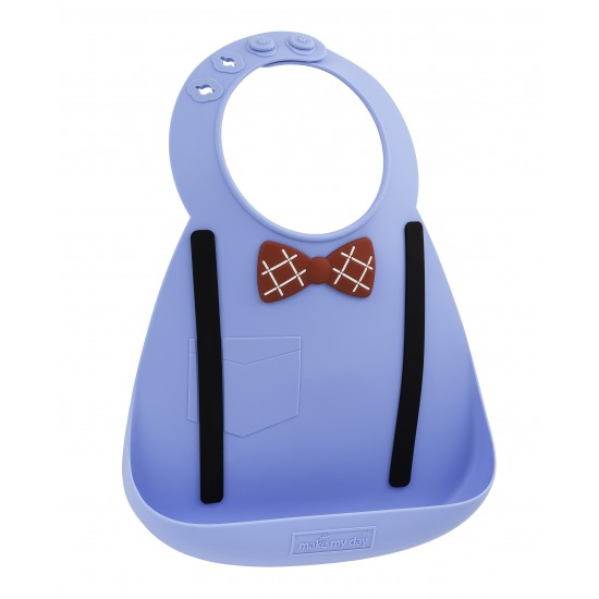 Bavoir en silicone : bleu effet nœud pap' et bretelles - Bavoirs bébé par Make My Day