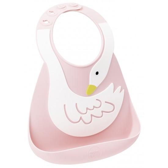 Bavoir en silicone : le cygne rose/blanc - Bavoirs bébé par Make My Day