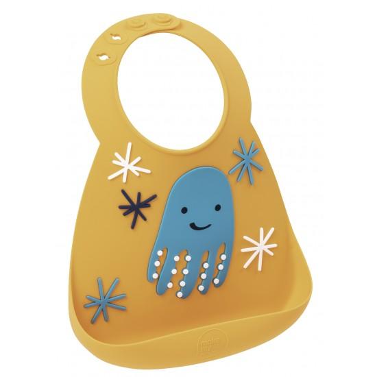 Bavoir en silicone : la pieuvre orange/bleu - Bavoirs bébé par Make My Day