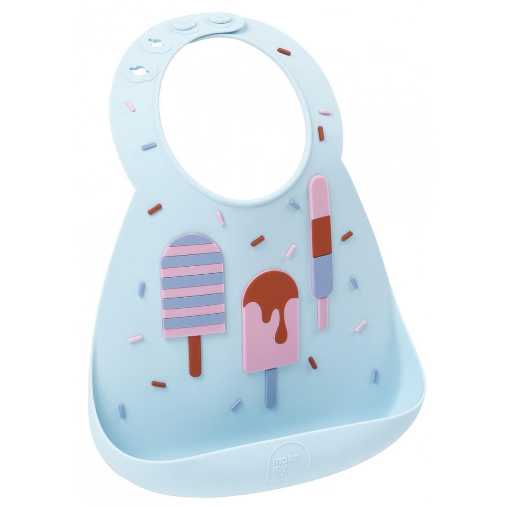 Bavoir en silicone : ice cream bleu ciel - Bavoirs bébé par Make My Day