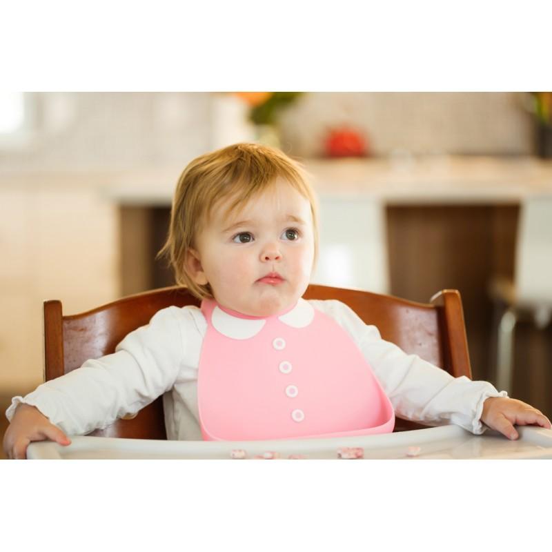 Bavoir en silicone : col claudine rose/blanc - Bavoirs bébé par Make My Day