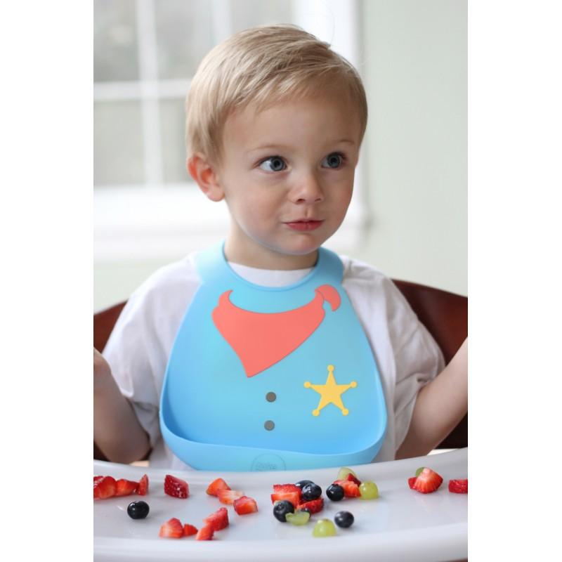 Bavoir en silicone : le shérif bleu/rouge - Bavoirs bébé par Make My Day