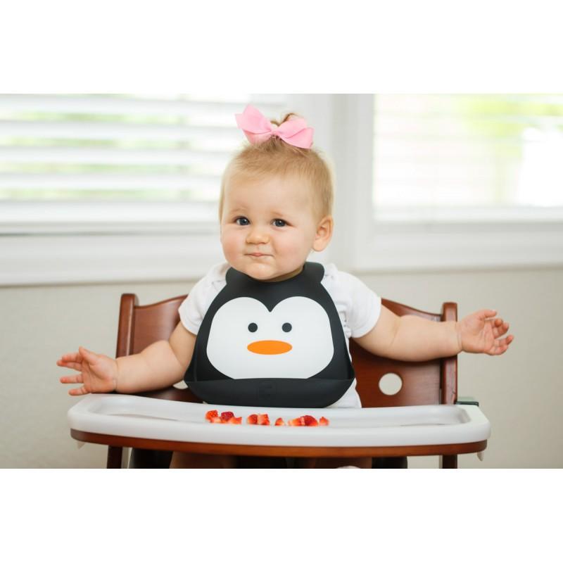 Bavoir en silicone : le pingouin noir/blanc - Bavoirs bébé par Make My Day