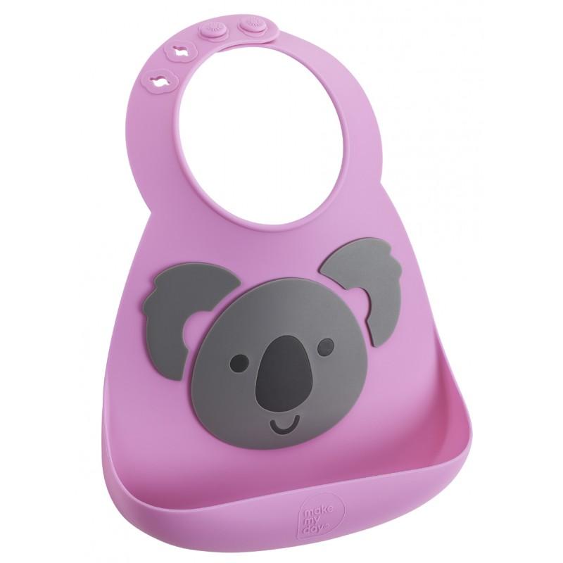Bavoir en silicone : le koala rose/gris - Bavoirs bébé par Make My Day