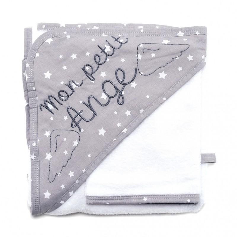 """Cape de bain """"Mon petit ange"""" + gant Une étoile est née blanc/gris - Peignoirs & Capes de Bain par BB&Co"""