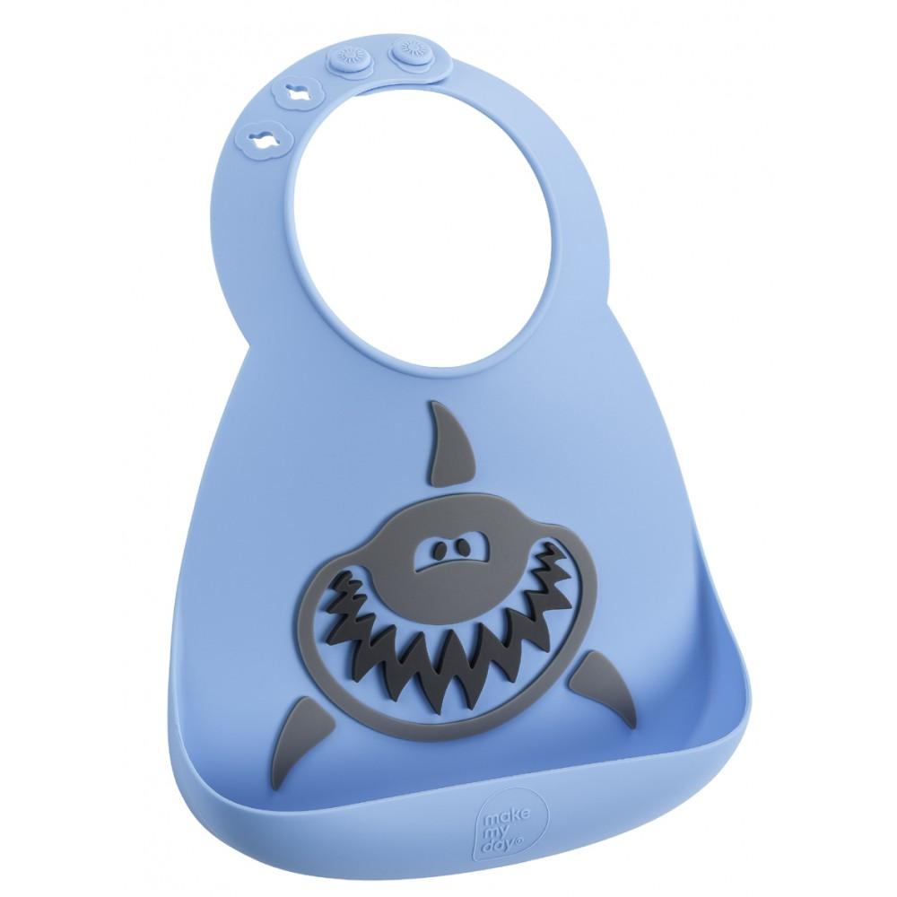Bavoir en silicone : le requin bleu/gris - Bavoirs bébé par Make My Day