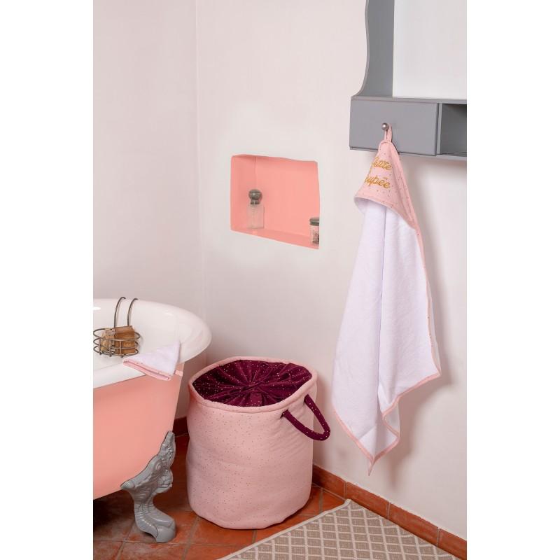"""Cape de bain """"Petite Poupée"""" + gant Girly Chic blanc/ blush pois or - Peignoirs & Capes de Bain par BB&Co"""