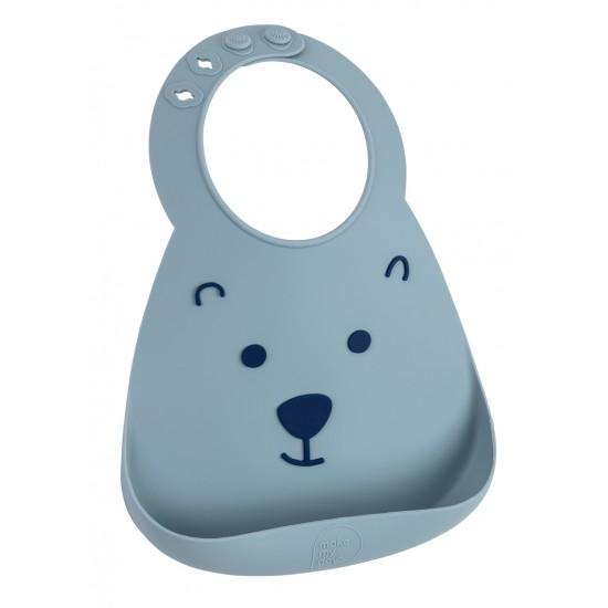 Bavoir en silicone souple: l'ourson bleu grisé - Bavoirs bébé par Make My Day
