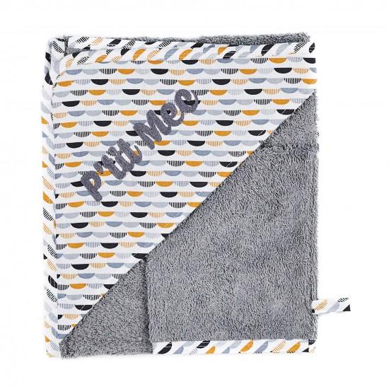 """Cape de bain """"P'tit Mec"""" + gant Honeymoon gris/blanc/camel - Peignoirs & Capes de Bain par BB&Co"""