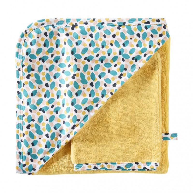Cape de bain + gant en bambou Baby Pop ocre / imprimé multicolore - Peignoirs & Capes de Bain par BB&Co