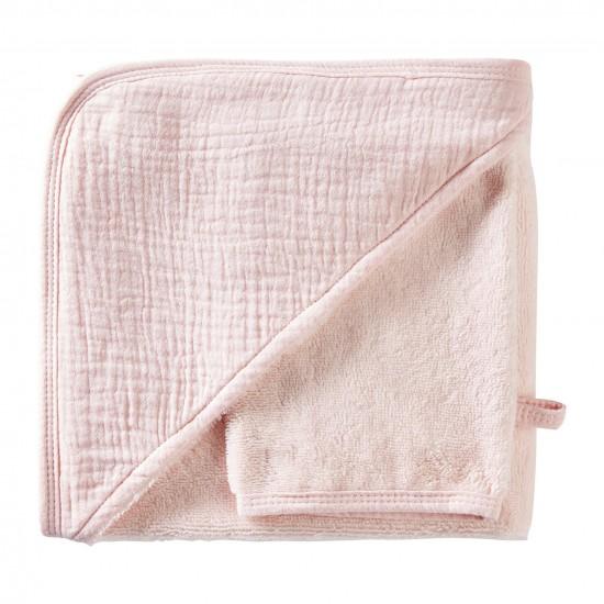 Cape de bain + gant en bambou & gaze rose blush Mix & Match - Peignoirs & Capes de Bain par BB&Co