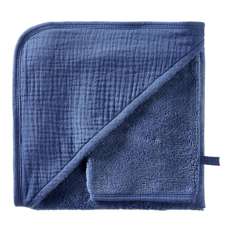 Cape de bain + gant en bambou & gaze indigo Mix & Match - Peignoirs & Capes de Bain par BB&Co