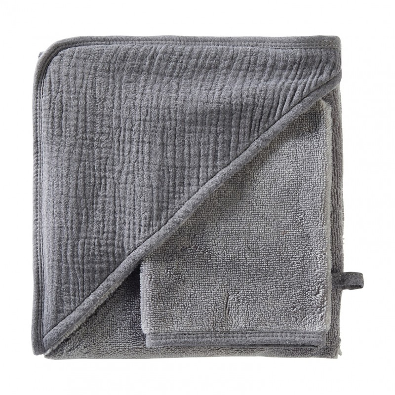 Cape de bain + gant en bambou & gaze gris foncé Mix & Match - Peignoirs & Capes de Bain par BB&Co