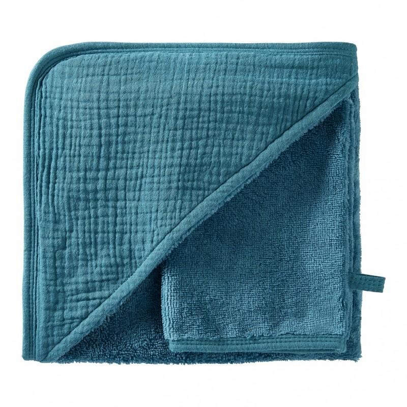 Cape de bain + gant en bambou & gaze vert paon Mix & Match - Peignoirs & Capes de Bain par BB&Co