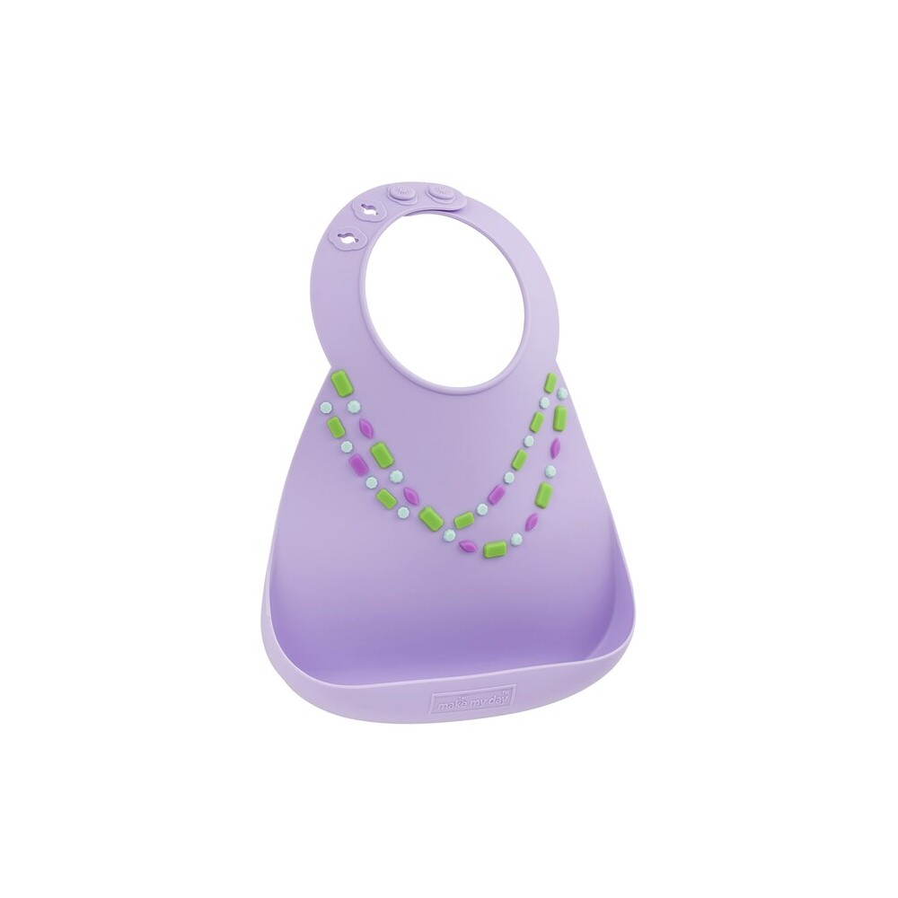 Bavoir en silicone : effet collier parme - Bavoirs bébé par Make My Day