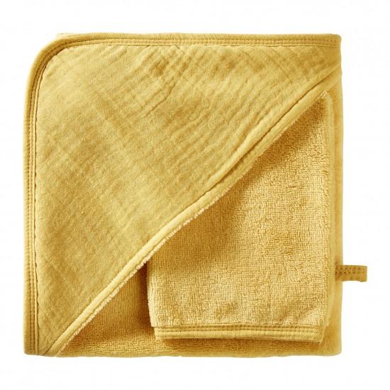 Cape de bain + gant en bambou & gaze moutarde Mix & Match - Peignoirs & Capes de Bain par BB&Co