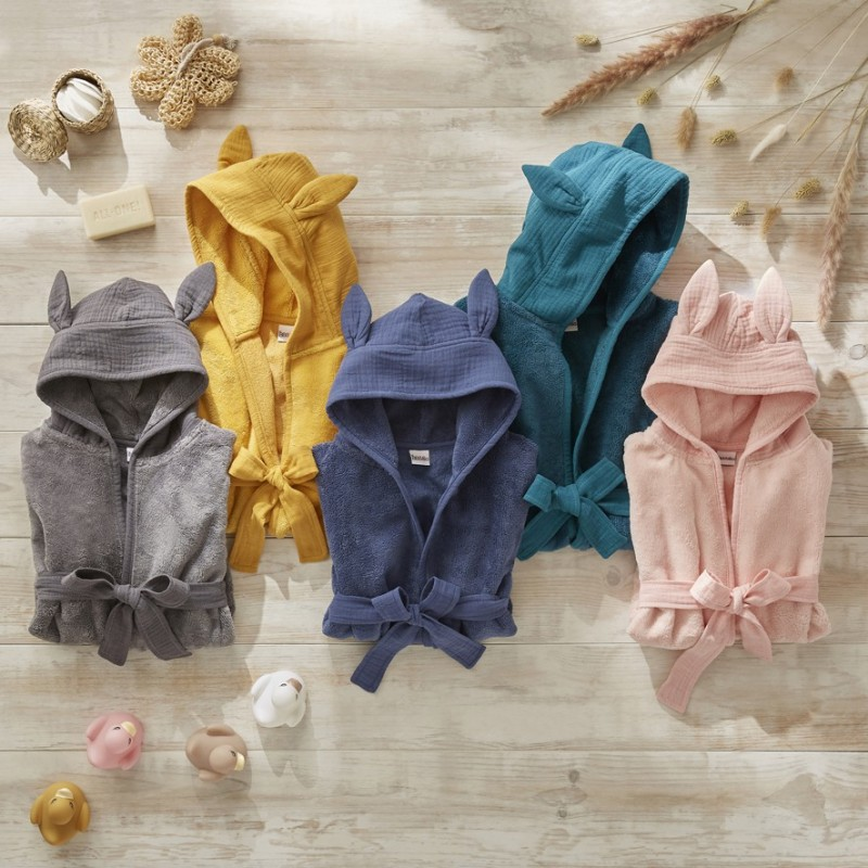 Peignoir bébé bambou et gaze de coton moutarde - Accueil par BB&Co