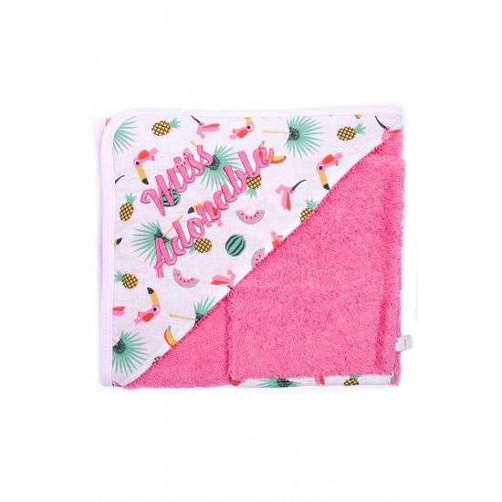 """Cape de bain """"Miss Adorable"""" + gant Tropical Princess rose/exotique - Peignoirs & Capes de Bain par BB&Co"""