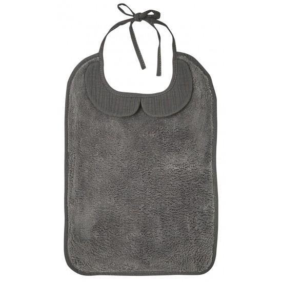 Grand bavoir bambou et gaze de coton gris - Accueil par BB&Co