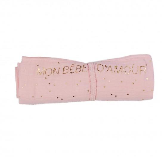 Lange en double gaze de coton gaufré rose blush pois or - Langes par BB&Co