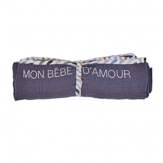 Lange en double gaze de coton gaufré anthracite/blanc/camel - Langes par BB&Co