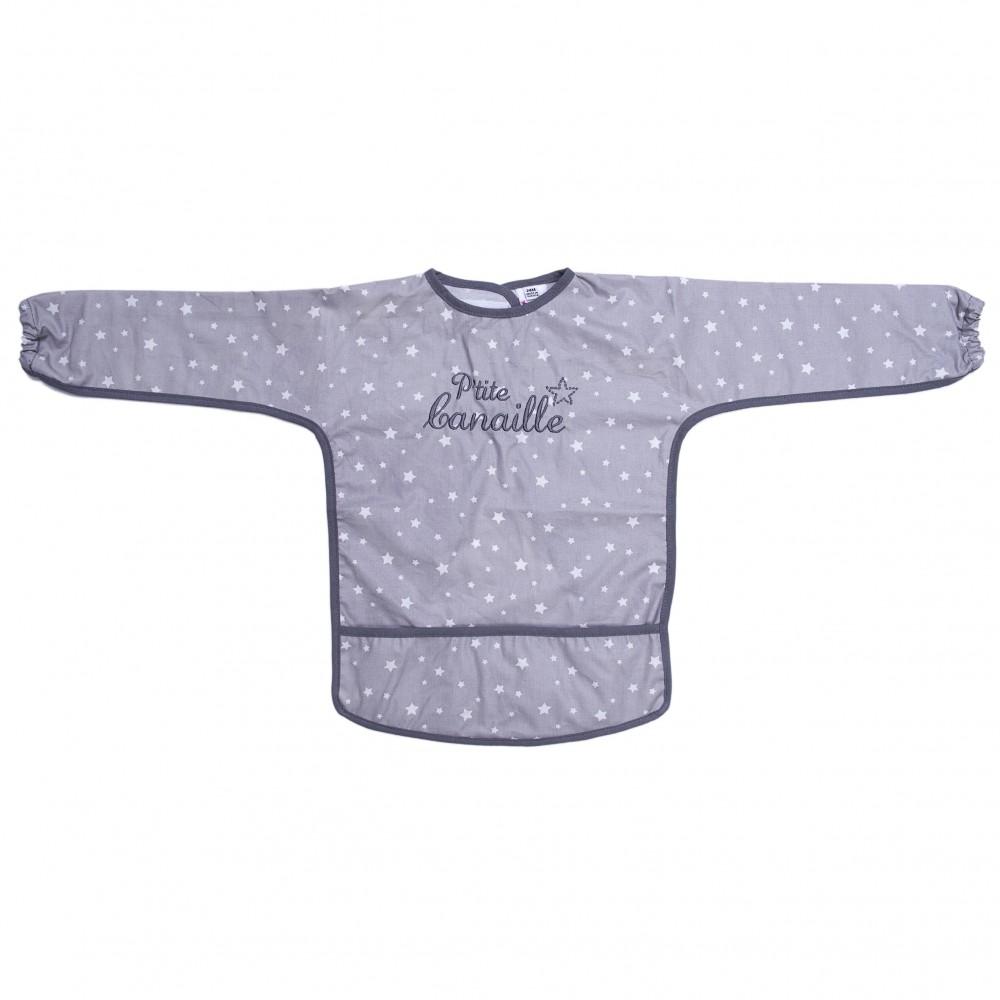 """Bavoir-tablier coton enduit """"P'tite Canaille"""" gris étoiles - Bavoirs bébé par BB&Co"""