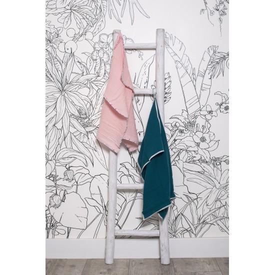 Lange en double gaze de coton gaufré framboise / imprimé fleurs vintage - Langes par BB&Co