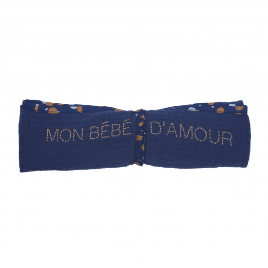 Lange en double gaze de coton gaufré indigo / camel - Langes par BB&Co