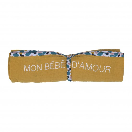 Lange en double gaze de coton gaufré moutarde / imprimé multicolore - Langes par BB&Co