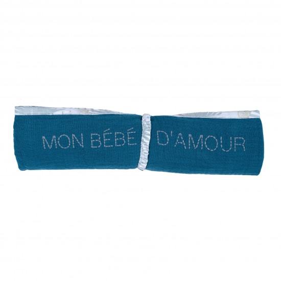 Lange en double gaze de coton gaufré vert paon - Langes par BB&Co