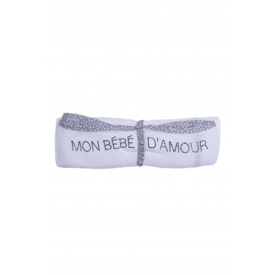 Lange multi-fonctions en gaze de coton pois blanc/gris - Langes par BB&Co