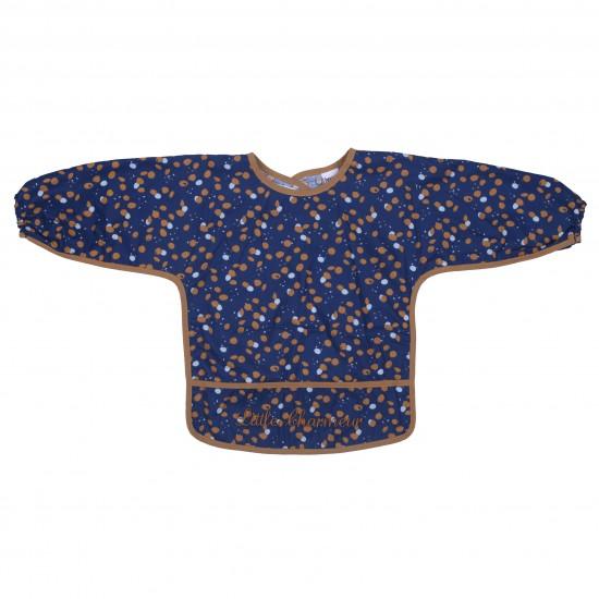 """Bavoir-tablier coton enduit """"Little Charmeur"""" indigo/azur/camel - Bavoirs bébé par BB&Co"""