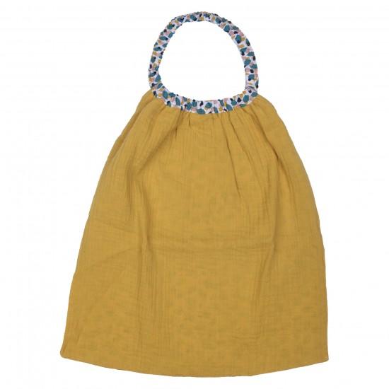 Serviette élastiquée gaze de coton moutarde / imp. multicolore - Serviettes élastiquées par BB&Co