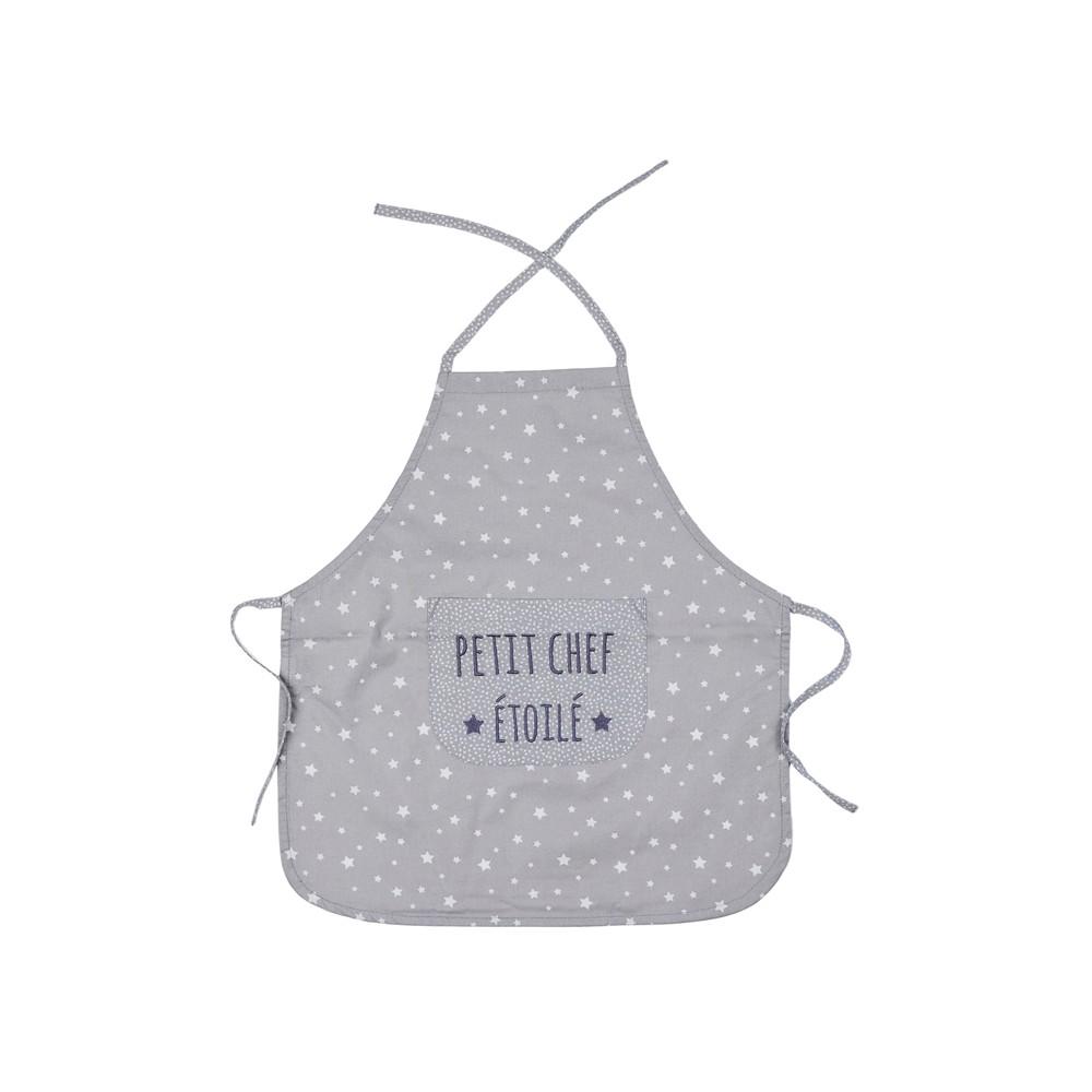 """Tablier de cuisine """"Petit chef étoilé"""" gris/blanc - Tabliers de cuisine par BB&Co"""