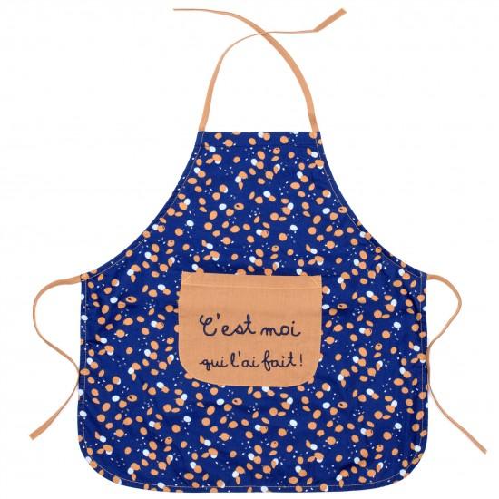 """Tablier de cuisine en coton enduit """"C'est moi qui l'ai fait"""" indigo/lagon/camel - Tabliers de cuisine par BB&Co"""