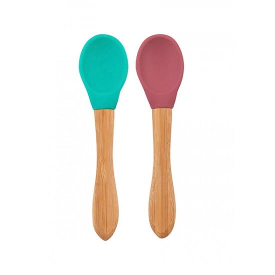 Lot 2 cuillères silicone & bambou Minikoioi - Terracotta/Vert - Vaisselle pour bébé par Minikoioi