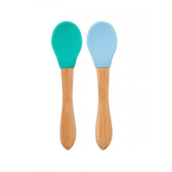 Lot 2 cuillères silicone & bambou Minikoioi - Bleu/Vert - Vaisselle pour bébé par Minikoioi
